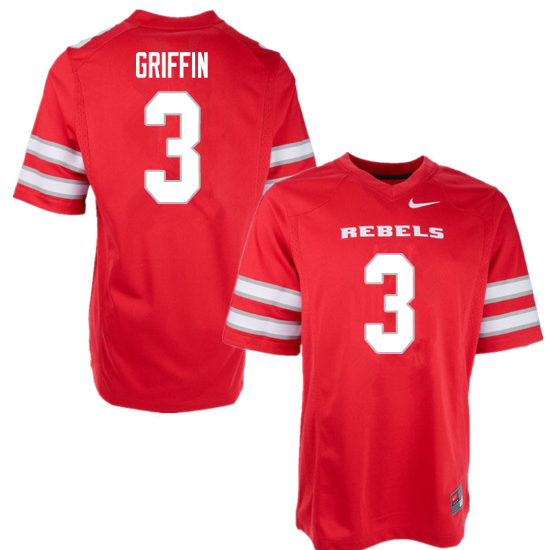 Men #3 Zyell Griffin UNLV Rebels College Football Jerseys Sale-Red