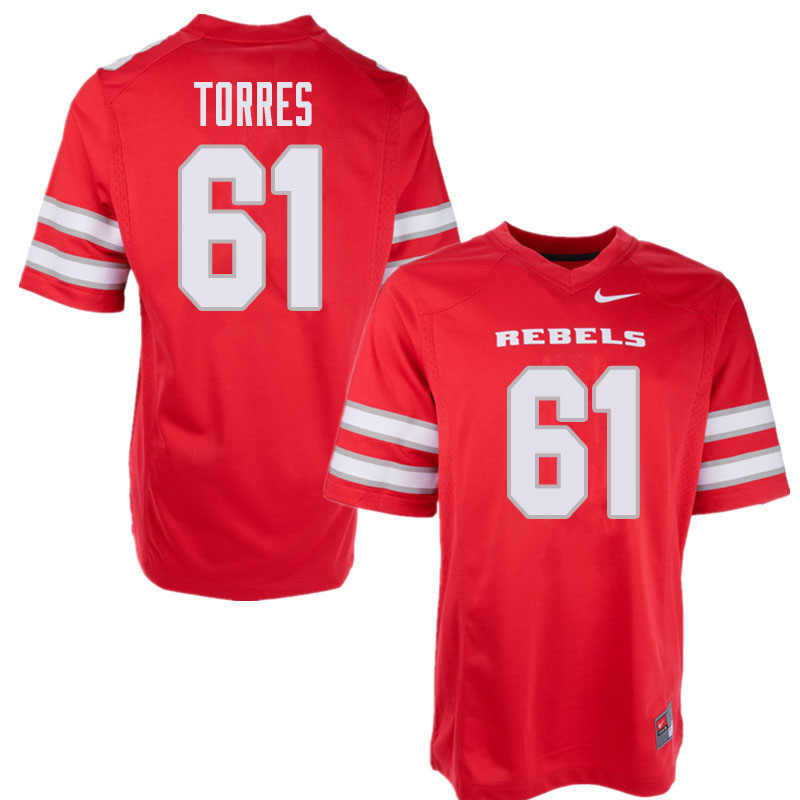 Men's UNLV Rebels #61 Angel Torres College Football Jerseys Sale-Red