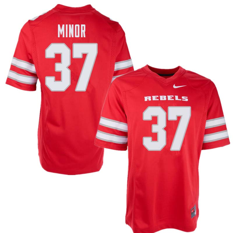Men's UNLV Rebels #37 Christian Minor College Football Jerseys Sale-Red