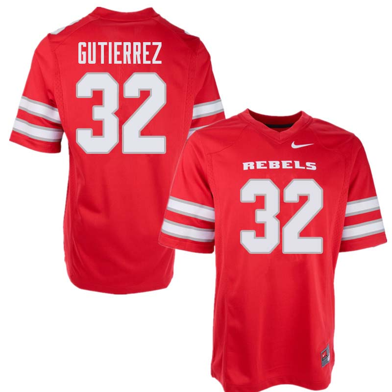 Men's UNLV Rebels #32 Daniel Gutierrez College Football Jerseys Sale-Red