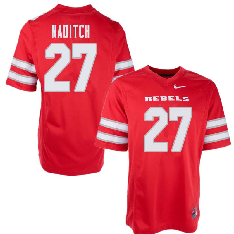 Men's UNLV Rebels #27 Dorian Naditch College Football Jerseys Sale-Red