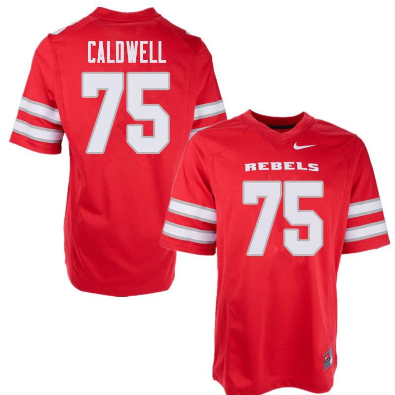 Men's UNLV Rebels #75 Jaron Caldwell College Football Jerseys Sale-Red