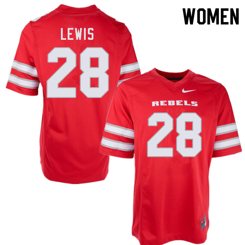 Women #28 Aaron Lewis UNLV Rebels College Football Jerseys Sale-Red