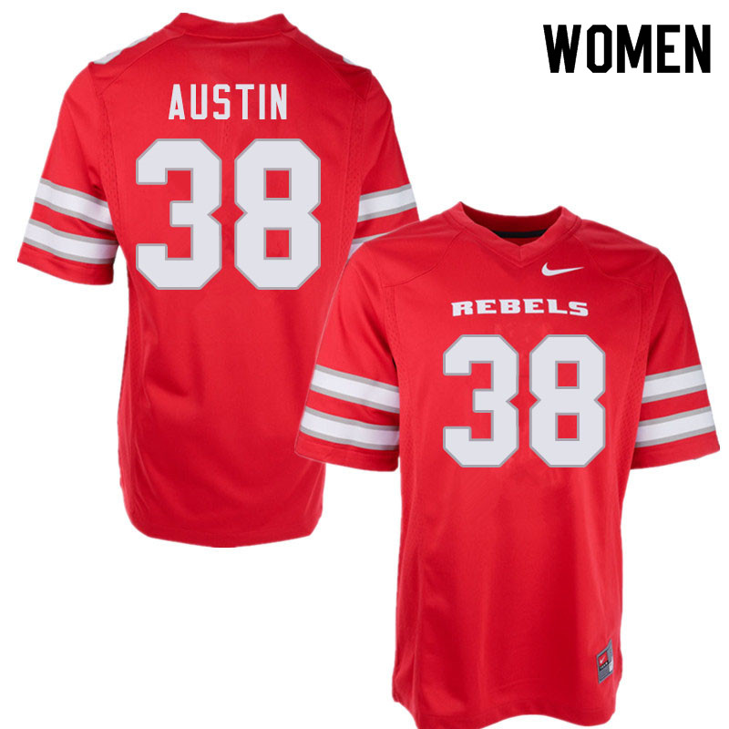 Women #38 Trey Austin UNLV Rebels College Football Jerseys Sale-Red