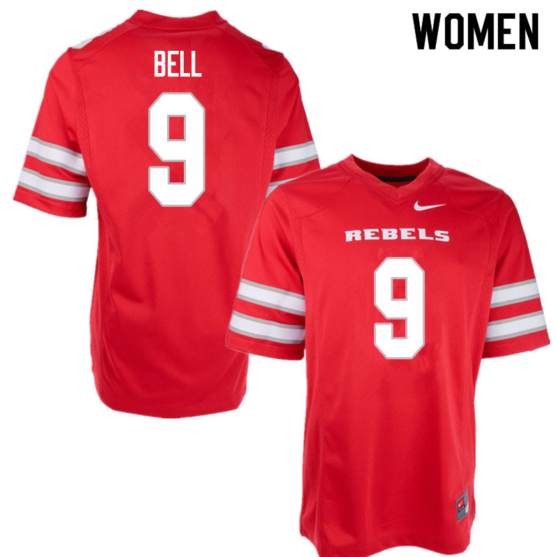 Women #9 LeShaun Bell UNLV Rebels College Football Jerseys Sale-Red