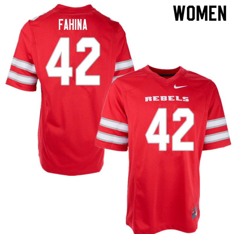 Women #42 Naki Fahina UNLV Rebels College Football Jerseys Sale-Red