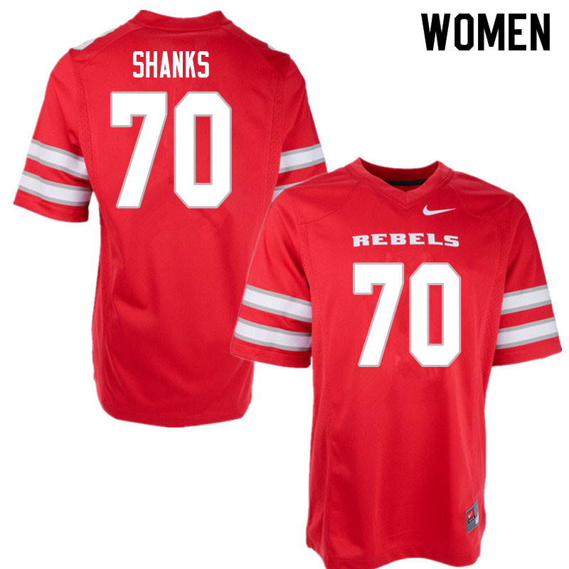 Women #70 Tiger Shanks UNLV Rebels College Football Jerseys Sale-Red
