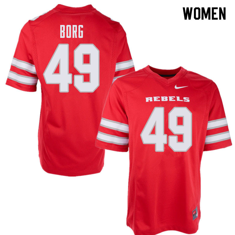 Women's UNLV Rebels #49 Aaron Borg College Football Jerseys Sale-Red