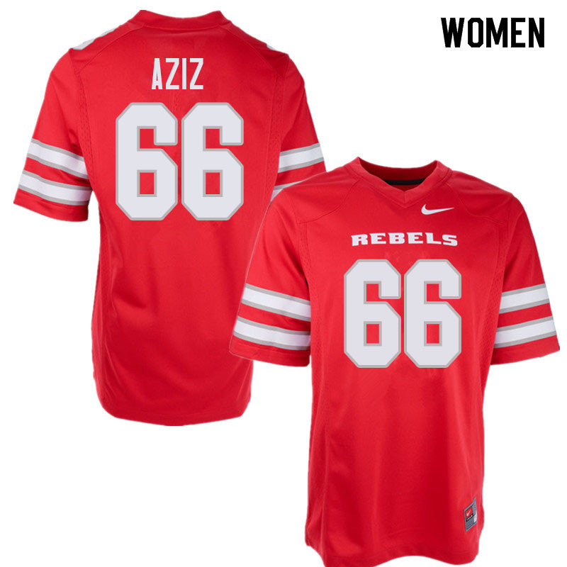 Women's UNLV Rebels #66 Ammir Aziz College Football Jerseys Sale-Red