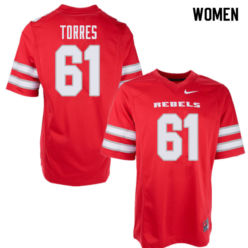 Women's UNLV Rebels #61 Angel Torres College Football Jerseys Sale-Red