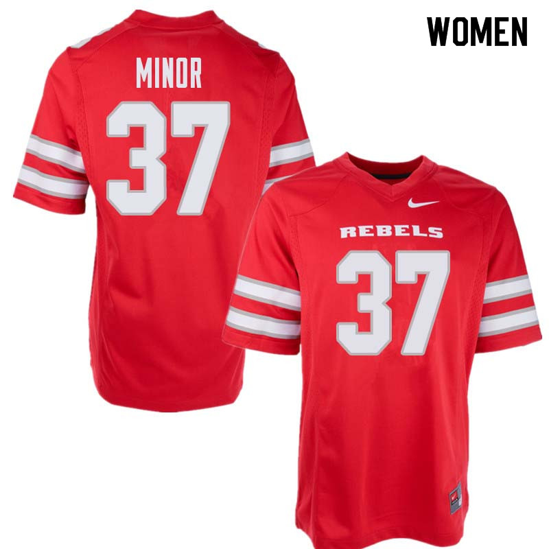Women's UNLV Rebels #37 Christian Minor College Football Jerseys Sale-Red
