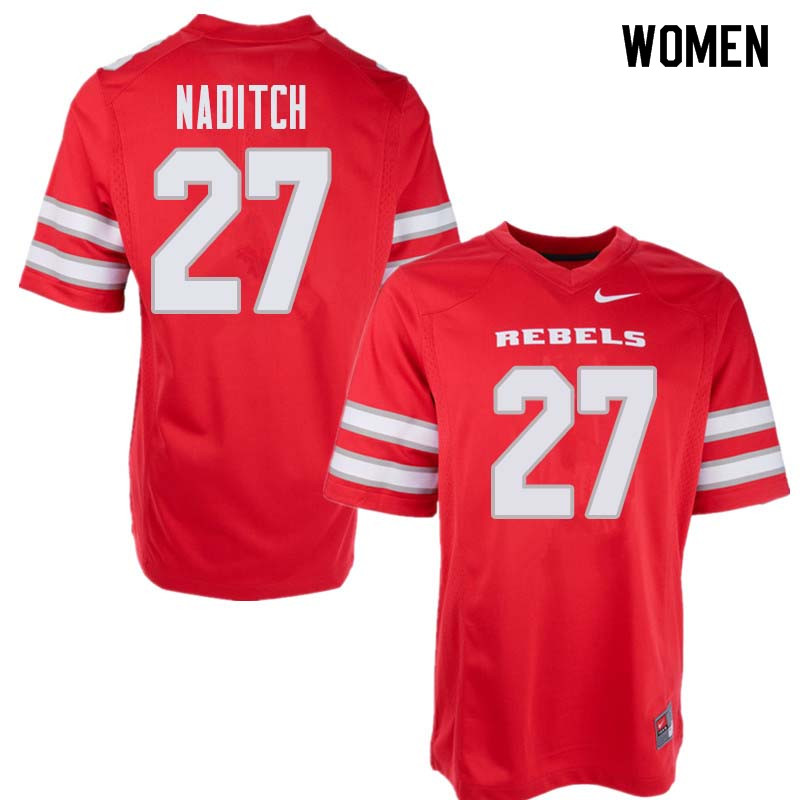 Women's UNLV Rebels #27 Dorian Naditch College Football Jerseys Sale-Red