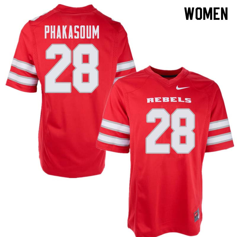 Women's UNLV Rebels #28 Feena Phakasoum College Football Jerseys Sale-Red