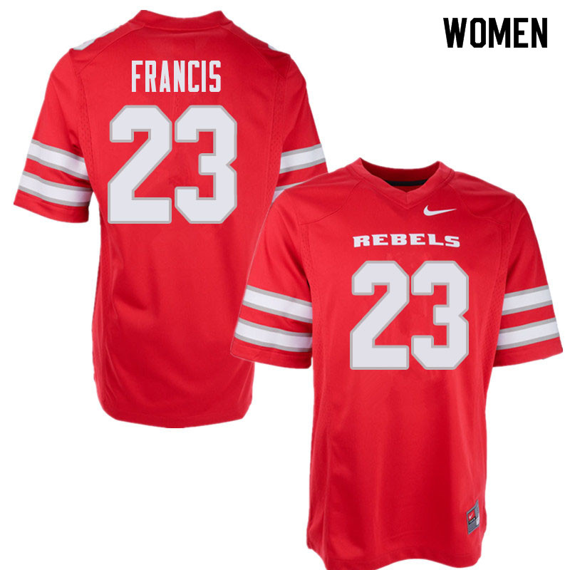 Women's UNLV Rebels #23 Greg Francis College Football Jerseys Sale-Red