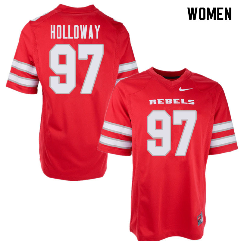 Women's UNLV Rebels #97 Jamal Holloway College Football Jerseys Sale-Red