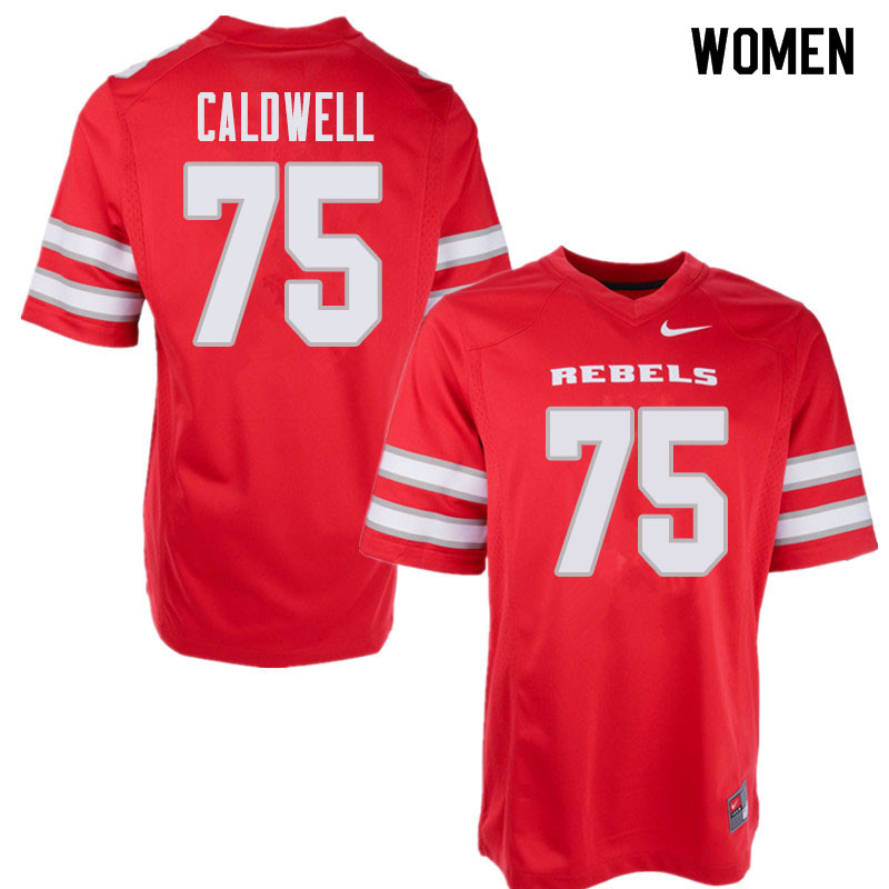 Women's UNLV Rebels #75 Jaron Caldwell College Football Jerseys Sale-Red