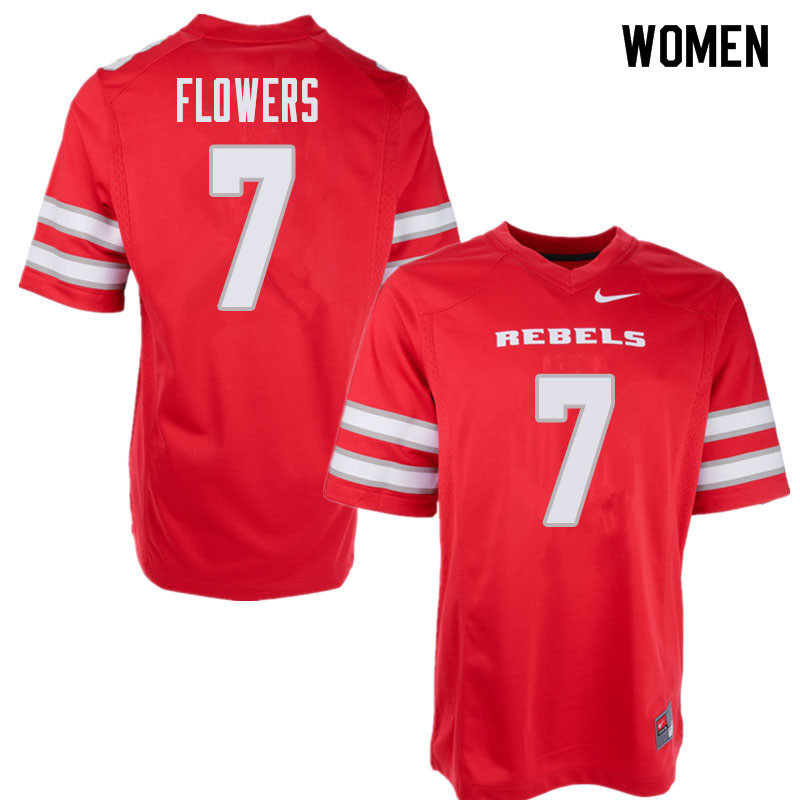 Women's UNLV Rebels #7 Jericho Flowers College Football Jerseys Sale-Red