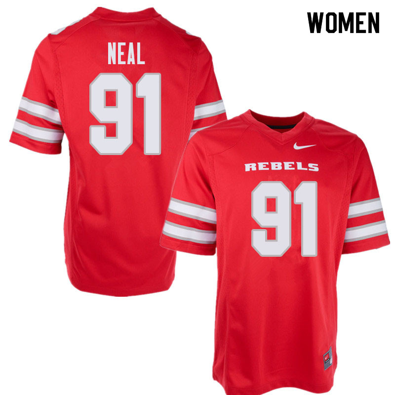 Women's UNLV Rebels #91 Nate Neal College Football Jerseys Sale-Red