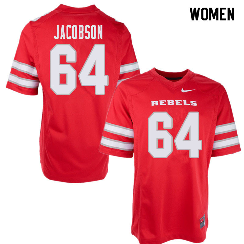 Women's UNLV Rebels #64 Nathan Jacobson College Football Jerseys Sale-Red