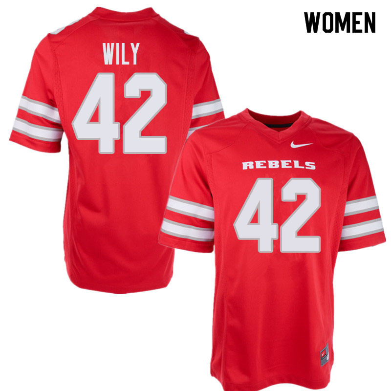 Women's UNLV Rebels #42 Salanoa-Alo Wily College Football Jerseys Sale-Red