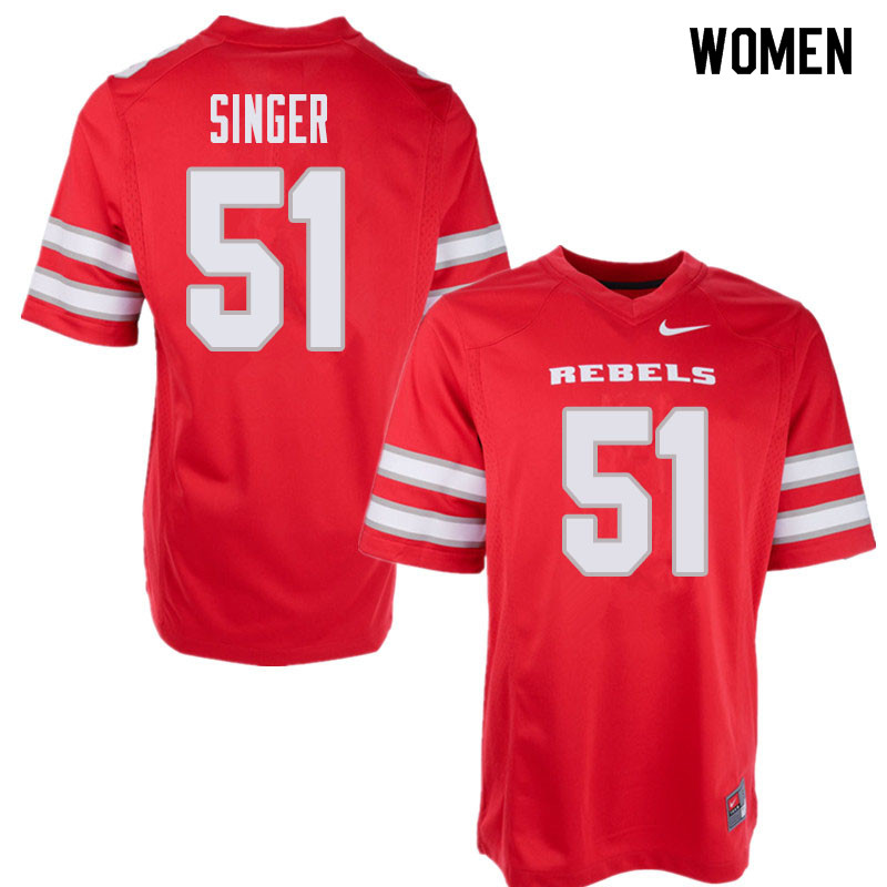 Women's UNLV Rebels #51 Zack Singer College Football Jerseys Sale-Red