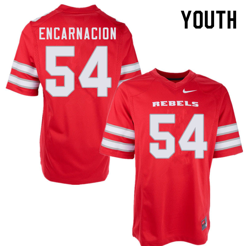 Youth #54 Jaylen Encarnacion UNLV Rebels College Football Jerseys Sale-Red