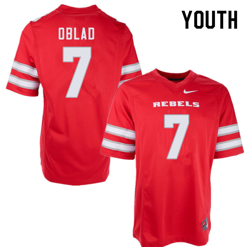 Youth #7 Kenyon Oblad UNLV Rebels College Football Jerseys Sale-Red