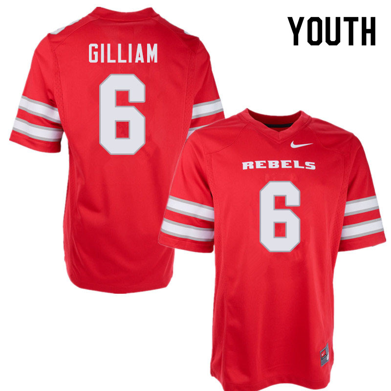 Youth #6 Max Gilliam UNLV Rebels College Football Jerseys Sale-Red