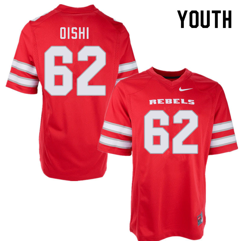 Youth #62 Nate Oishi UNLV Rebels College Football Jerseys Sale-Red