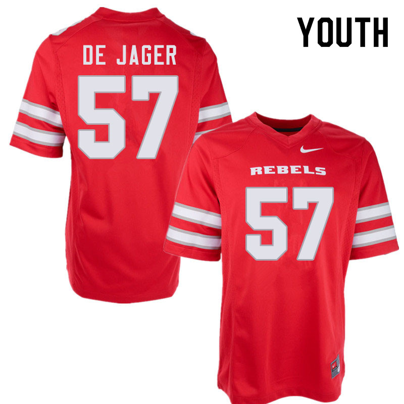 Youth #57 Nathan De Jager UNLV Rebels College Football Jerseys Sale-Red