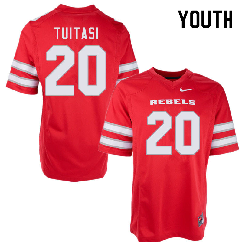 Youth #20 Tavai Tuitasi UNLV Rebels College Football Jerseys Sale-Red