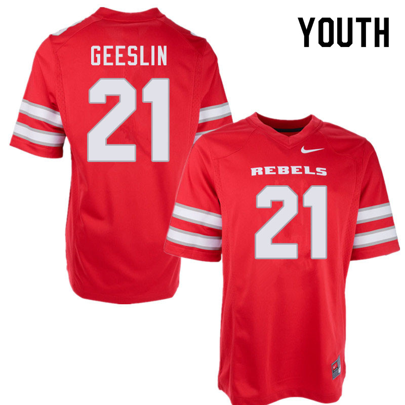 Youth #21 Tiger Geeslin UNLV Rebels College Football Jerseys Sale-Red