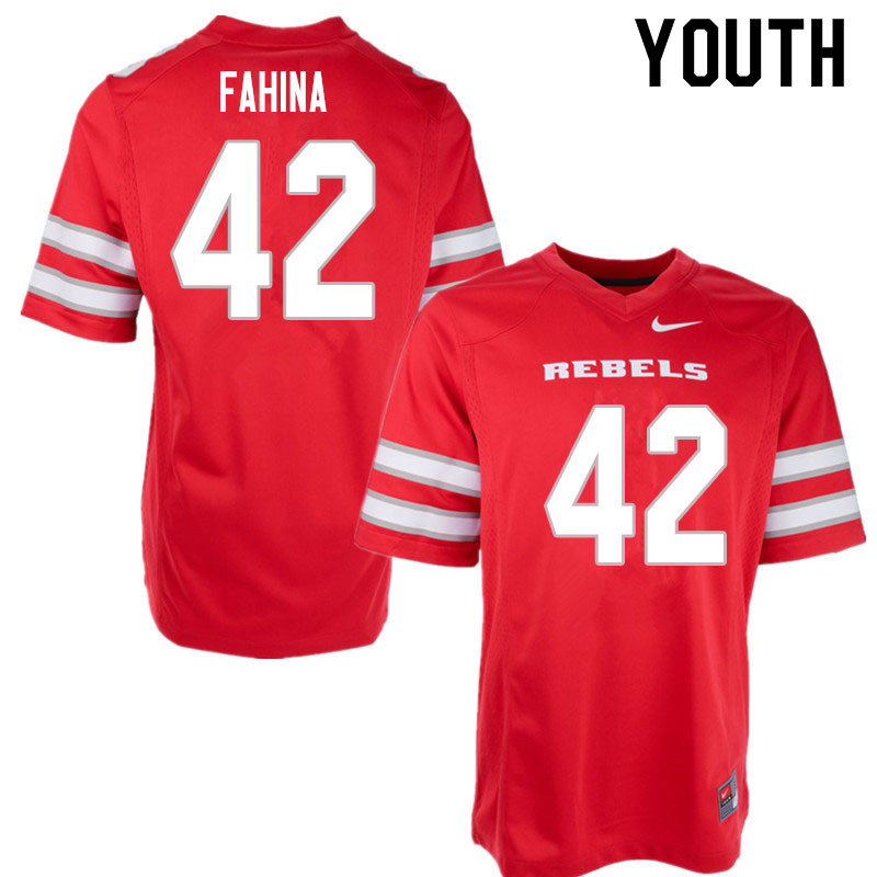 Youth #42 Naki Fahina UNLV Rebels College Football Jerseys Sale-Red