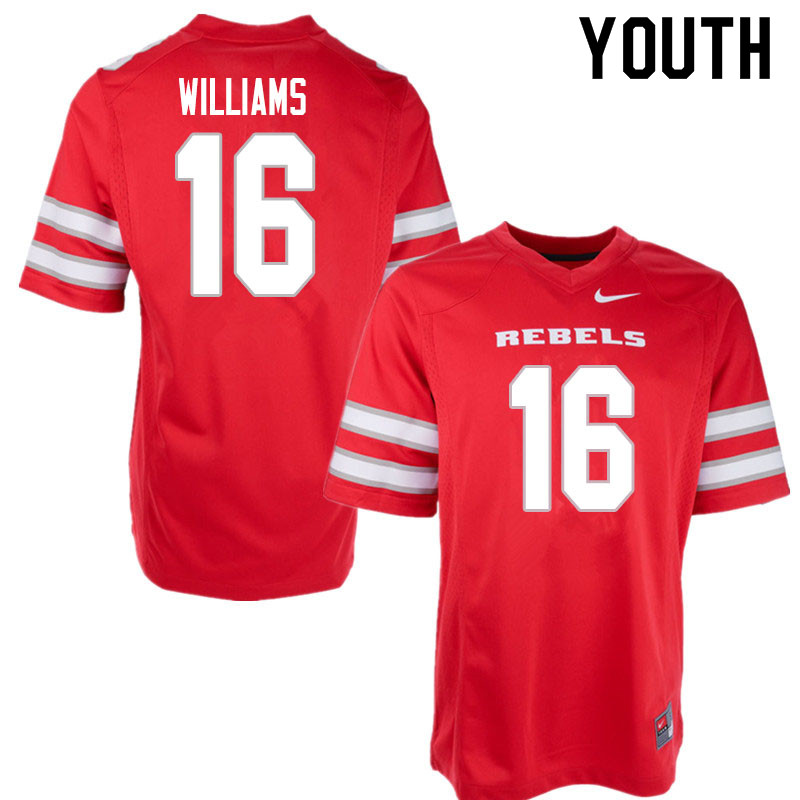 Youth #16 Nohl Williams UNLV Rebels College Football Jerseys Sale-Red