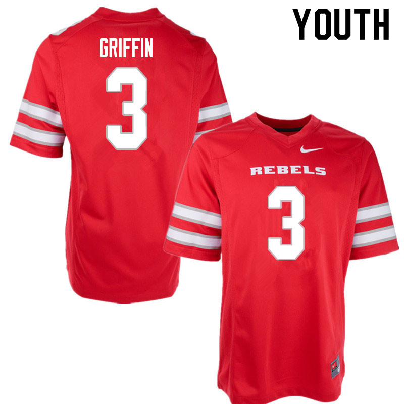 Youth #3 Zyell Griffin UNLV Rebels College Football Jerseys Sale-Red
