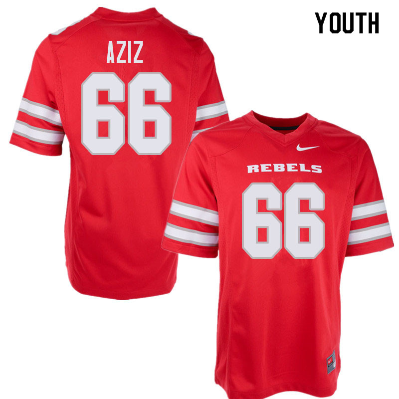 Youth UNLV Rebels #66 Ammir Aziz College Football Jerseys Sale-Red