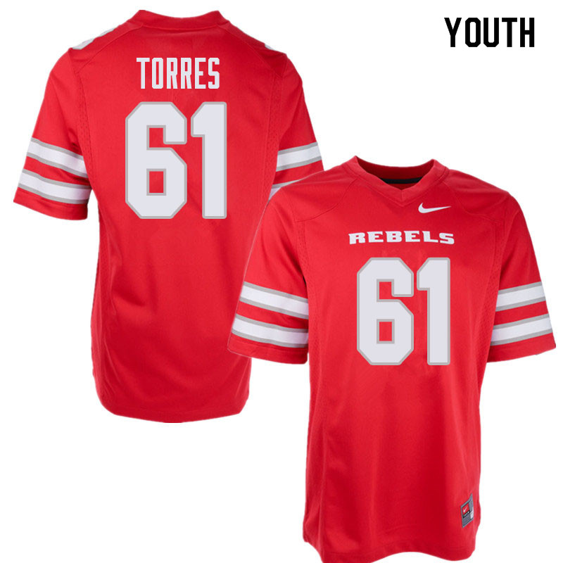 Youth UNLV Rebels #61 Angel Torres College Football Jerseys Sale-Red