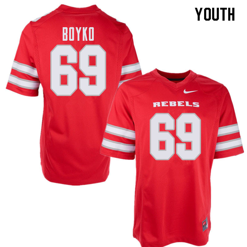 Youth UNLV Rebels #69 Brett Boyko College Football Jerseys Sale-Red