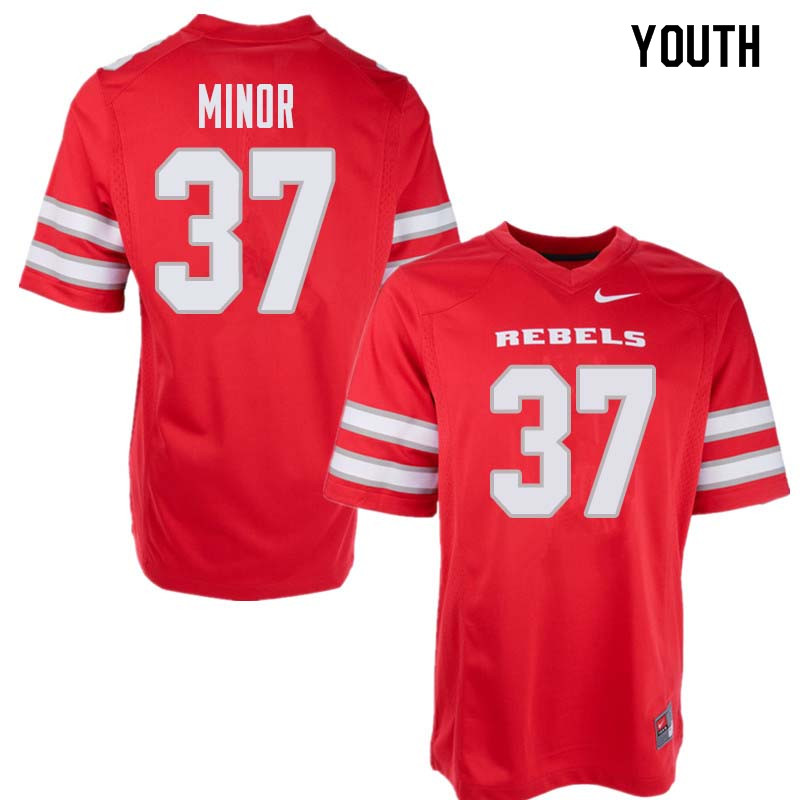 Youth UNLV Rebels #37 Christian Minor College Football Jerseys Sale-Red