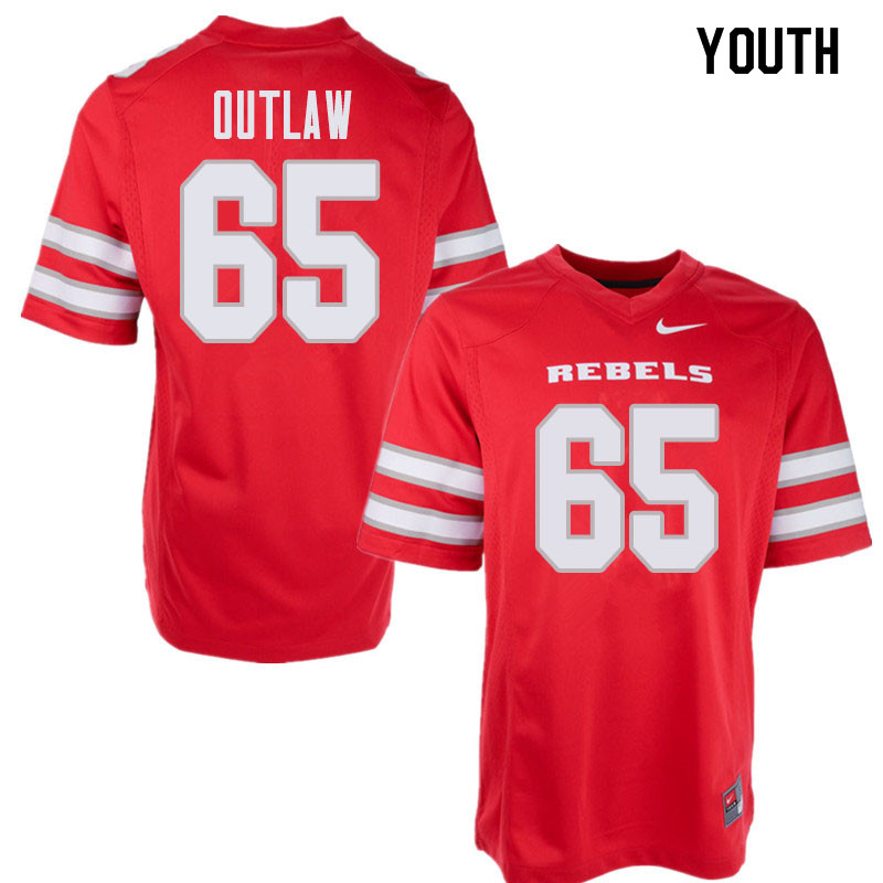 Youth UNLV Rebels #65 Donovan Outlaw College Football Jerseys Sale-Red