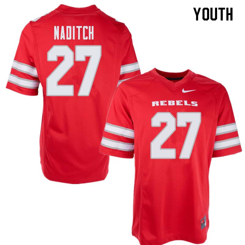 Youth UNLV Rebels #27 Dorian Naditch College Football Jerseys Sale-Red