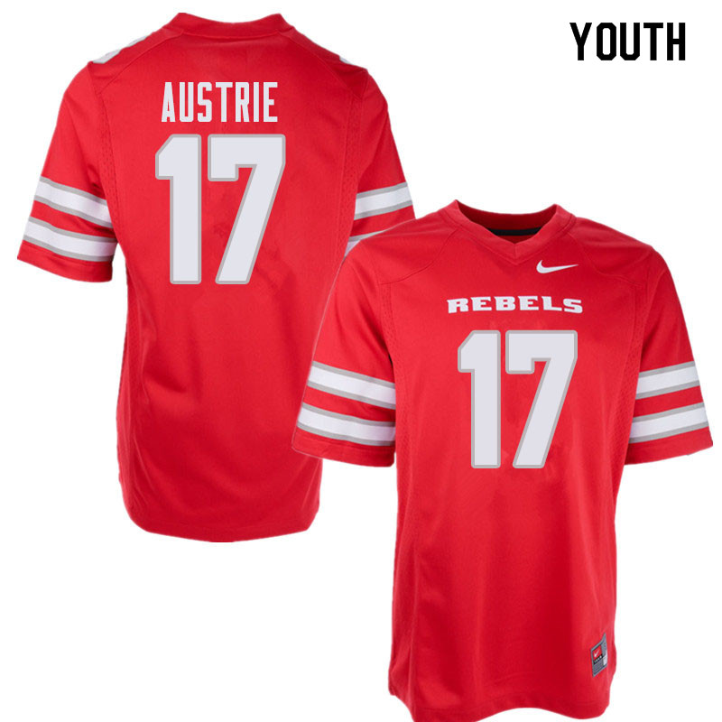 Youth UNLV Rebels #17 Evan Austrie College Football Jerseys Sale-Red