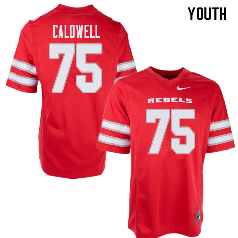 Youth UNLV Rebels #75 Jaron Caldwell College Football Jerseys Sale-Red