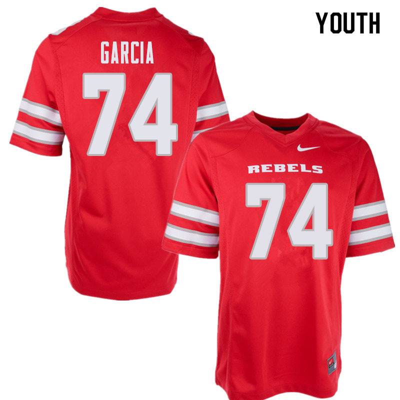 Youth UNLV Rebels #74 Julio Garcia College Football Jerseys Sale-Red
