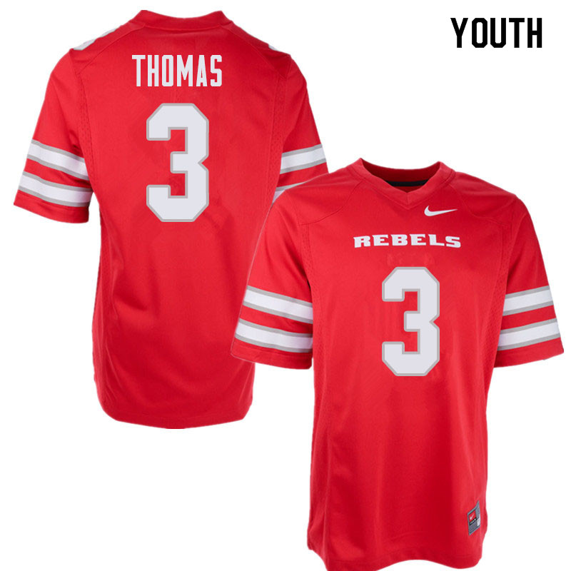 Youth UNLV Rebels #3 Lexington Thomas College Football Jerseys Sale-Red