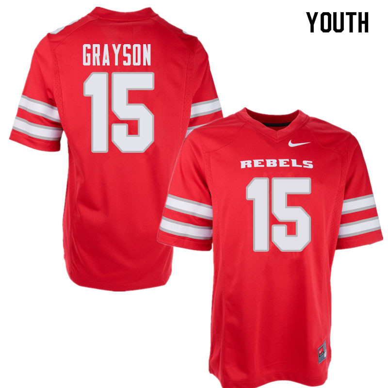 Youth UNLV Rebels #15 Marckell Grayson College Football Jerseys Sale-Red