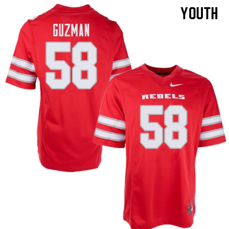 Youth UNLV Rebels #58 Nathan Guzman College Football Jerseys Sale-Red