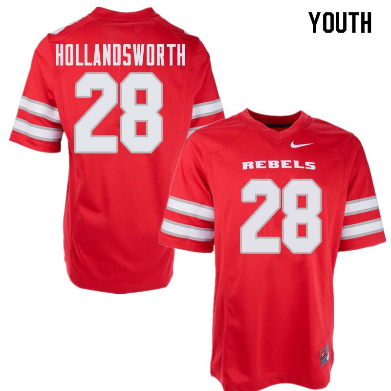 Youth UNLV Rebels #28 Tariq Hollandsworth College Football Jerseys Sale-Red