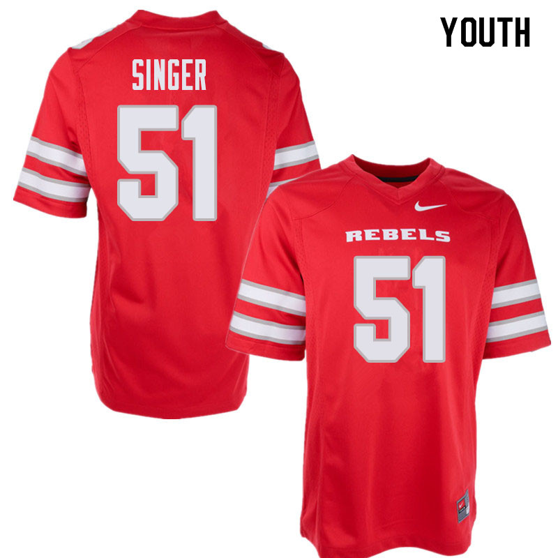 Youth UNLV Rebels #51 Zack Singer College Football Jerseys Sale-Red
